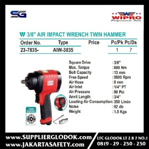 WIPRO – 3/8″ AIR IMPACT WRENCH TWIN HAMMER- AIW-3835