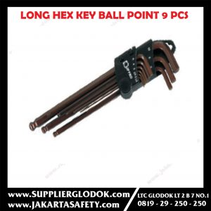LIPPRO 9 pcs long HEX key with ball point (METRIC)/Kunci L Set Hexagonal Panjang dengan Ballpoint 9 Pcs